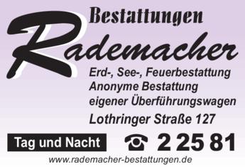 Anzeige Bestattungen Rademacher