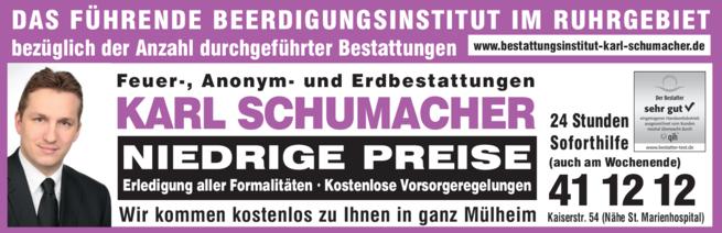 Anzeige Beerdigung Schumacher Karl