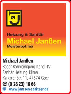 Anzeige Janßen Michael Sanitär - Heizung - Klima - Schwimmbadtechnik - Rohrreinigung