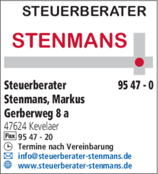 Anzeige Steuerberater Stenmans Markus