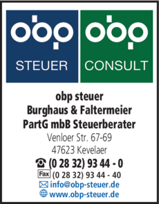 Anzeige obp steuer Burghaus & Faltermeier PartG mbB Steuerberater