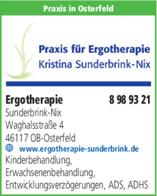 Anzeige Ergotherapie Sunderbrink-Nix