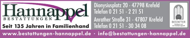 Anzeige Bestattung Hannappel