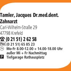 Anzeige Tamler Jacques Dr.med.dent.