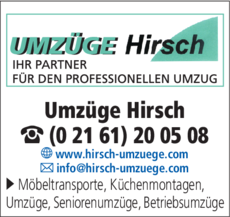 Anzeige Umzüge Hirsch