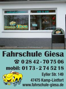 Anzeige Fahrschule Giesa