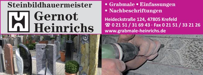 Anzeige Grabmale Gernot Heinrichs