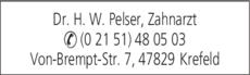 Anzeige Dr. H. W. Pelser Zahnarzt