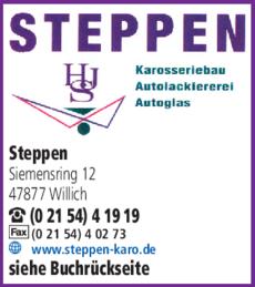 Anzeige Autolackiererei Steppen Karosseriebau GmbH & Co KG