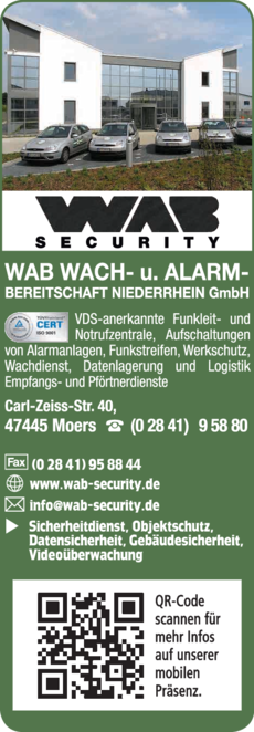 Anzeige Wachdienst WAB-Security Wach- und Alarmbereitschaft Niederrhein GmbH