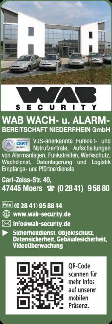 Anzeige Wachdienst WAB Wach- und Alarmbereitschaft Niederrhein GmbH