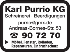Anzeige Schreinerei Purrio Karl KG