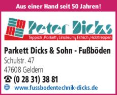 Anzeige Parkett Dicks & Sohn