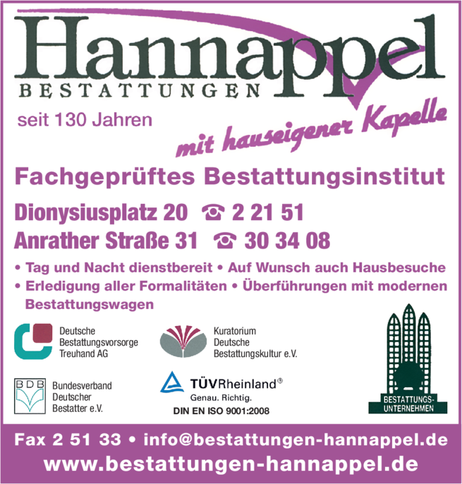Anzeige Hannappel Herm. & Sohn