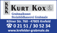 Anzeige Grabmale Kurt Kox