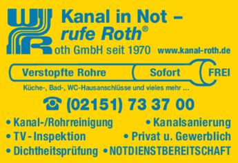 Anzeige Rohrreinigung W. Roth GmbH