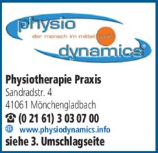 Anzeige Physiotherapie Physiodynamics