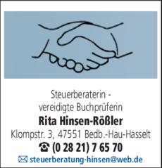 Anzeige Steuerberater Hinsen - Rößler