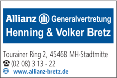 Anzeige Allianz Generalvertretung Henning & Volker Bretz OHG