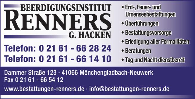 Anzeige Beerdigung Renners G. Hacken