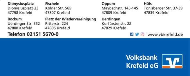 Anzeige Volksbank Krefeld eG