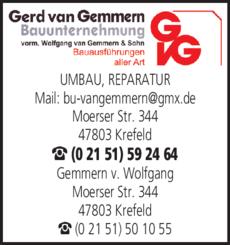 Anzeige Gemmern van Gerd