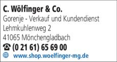 Anzeige Küppersbusch - Fachhändler C. Wölfinger & Co.