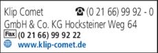 Anzeige Klip Comet GmbH & Co. KG