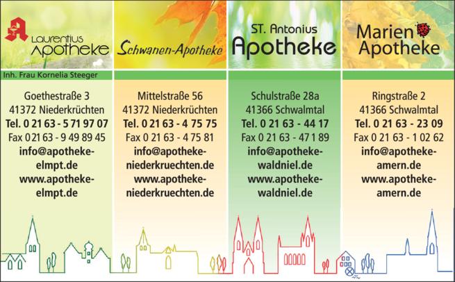 Anzeige Antonius, Laurentius, Marien, Schwanen Apotheke - Inh. Kornelia Steeger