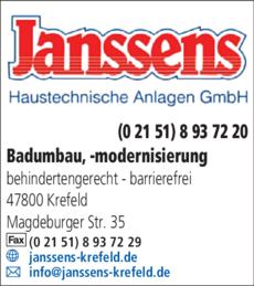 Anzeige Badsanierung Janssens Haustechnische Anlagen GmbH
