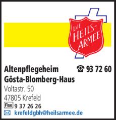 Anzeige Altenpflegeheim Gösta-Blomberg-Haus