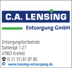 Anzeige C.A. Lensing Entsorgung GmbH