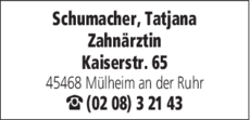 Anzeige Schumacher Tatjana