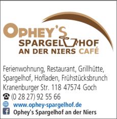 Anzeige Ophey s Spargelhof an der Niers