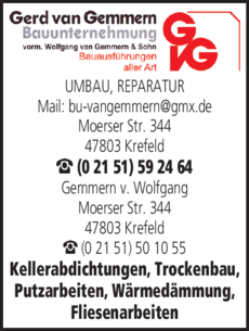 Anzeige Bauunternehmen Gemmern van, Gerd