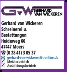 Anzeige Wickeren, Gerhard van