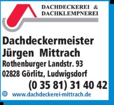 Anzeige Dachdeckermeister Jürgen Mittrach