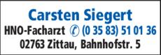 Anzeige Siegert, Carsten HNO-Praxis