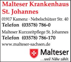 Anzeige Malteser Krankenhaus St. Johannes
