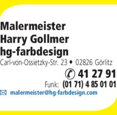 Anzeige Malermeister Gollmer, hg-farbdesign