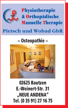 Anzeige Pietsch & Wobad Physiotherapie & Orthopädische Manuelle Therapie