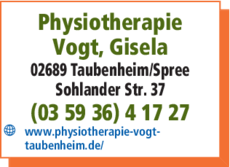 Anzeige Physiotherapie Gisela Vogt