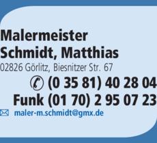 Anzeige Malermeister Schmidt, Matthias