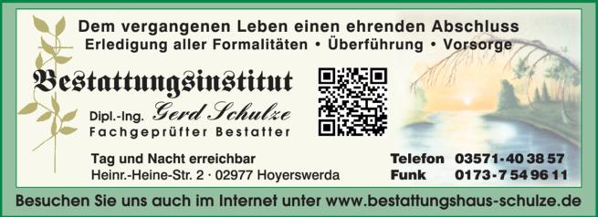 Anzeige Bestattungsinstitut Gerd Schulze