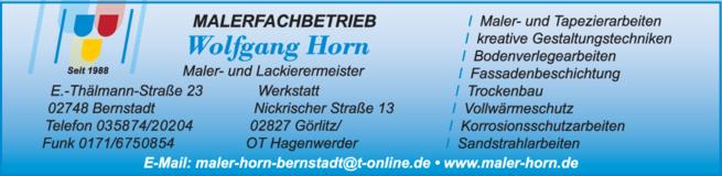 Anzeige Horn Wolfgang Malerbetrieb - Sandstrahlen - Korrosionsschutz