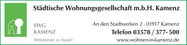 Anzeige Städtische Wohnungsgesellschaft m.b.H. Kamenz