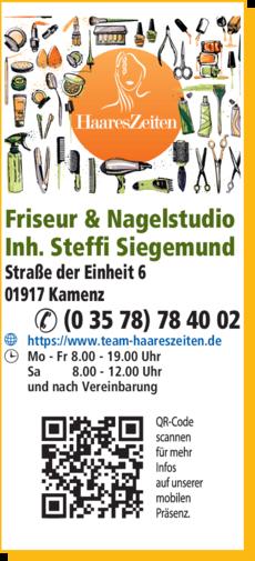 Anzeige Friseur HaaresZeiten & Nagelstudio Inh. Steffi Siegemund
