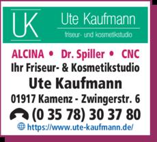 Anzeige Friseur- und Kosmetikstudio Ute Kaufmann