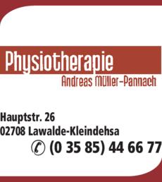 Anzeige Physiotherapie Andreas Müller-Pannach