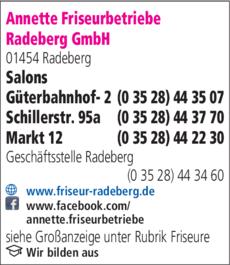 Anzeige Annette Friseurbetriebe Radeberg GmbH
